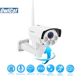 micrófono Rebajas OwlCat HD 1080P Pan Tilt Zoom WIFI Cámara IP al aire libre Zoom 2MP 5X Auto Focus Audio / Mic IR Onvif 2.4 Tarjeta SD Seguridad CCTV Cámara