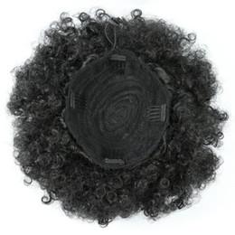 Обернутый в волосы конский хвостик онлайн-High Puff Afro Ponytail Короткие кудрявые курчавые хвостики Wrap Updo Bun Наращивание волос с помощью зажимов 10inches Синтетические шиньоны шиньон