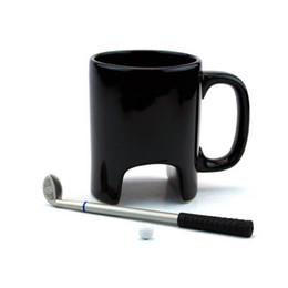 Divertenti regali da golf online-Tazza da caffè in ceramica creativa Golf divertente tazza da caffè nero ufficio Tazza in ceramica casual Bastone da golf con penna regali di compleanno