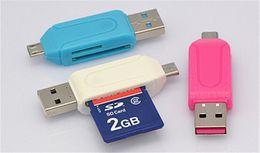 connecteur de mini carte Promotion Adaptateur 2 en 1 USB mâle vers micro USB double emplacement OTG avec lecteur de carte mémoire TF / SD 32 Go 16 Go pour tablette Android Samsung
