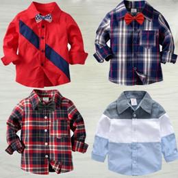 2019 niños camisetas de invierno camisa de moda primer golpe casual de la camiseta muchachas de los muchachos Ropa de diseño de cuadrícula INS niños camisetas a rayas de manga larga de la camisa del niño del algodón ropa C166