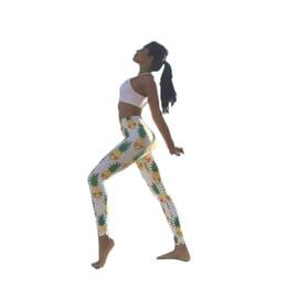 pantalones de yoga europa Rebajas Pantalones de yoga Pantalones de lápiz Cultivarse y cintura alta Levantamiento de cadera Impresión de piña Europa y América 4