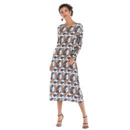 2019 inverno e 2019 primavera nuove donne moda casual slash collo maniche lunghe foglie stampa abiti chiffion due colori da