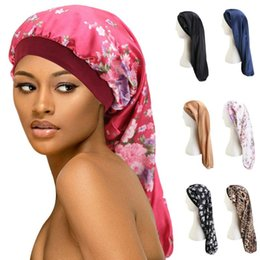 2021 bandes de cheveux longs Cheveux longs Sock Cap sommeil Chapeau Wrap Bonnet de nuit Soins des cheveux Bonnet Nightcap femmes large bande élastique satin Hat Headcover Baggy Protect promotion bandes de cheveux longs