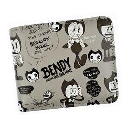 Münzen maschine online-Designer Brieftasche Geldbörse Spiel Bendy And The Ink Machine Kurze Brieftasche Anime Cartoon Brieftaschen Geldbörse