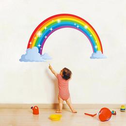 Häuser tapeten online-1 stück 73 cm X 40 cm Kinder Regenbogen Wandbild Raumdekoration Aufkleber Kindergarten Kreative Kinder Haus Wohnkultur Wandaufkleber Aufkleber Tapete