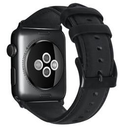 2019 cuero de reloj de manzana Lujo cera de aceite de cuero genuino pulsera correa para banda de reloj de Apple 42/38/44 / 40mm WristBand accesorios correa de reloj serie 4 3 2 1 rebajas cuero de reloj de manzana