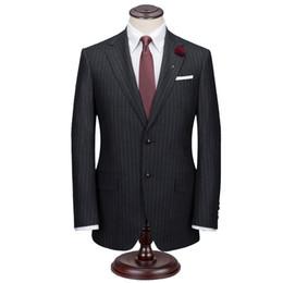 2019 der graue streifenanzug der männer Midnight Grey Man Kreide Streifen Anzug Custom Made Midnight Grey Mens gestreiften Anzug, Tailored Single Breasted Striped Men Suit günstig der graue streifenanzug der männer