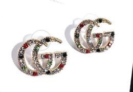 New Designer Full Rhinestone Lettera nappa orecchini per le donne moda orecchino a perno gioielli regali oro e argento 925 da