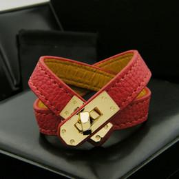 Bracelete de várias camadas on-line-Clássico Do Vintage Multicamadas Pu Couro H Pulseiras para as mulheres Cuff bangles Men ouro fivela Pulseira Pulseras Hombre Acessórios Masculinos Jóias