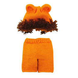 padrão de malha de chapéu de bebê Desconto Terno bonito Padrão Trajes bebê recém-nascido Fotografia Props Hat Calças de malha