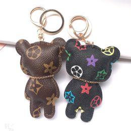 mini ferramenta por atacado chaveiros Desconto Hot Sale New Fashion Chaveiro Acessórios Tassel Chaveiro Couro PU Padrão Urso Car jóias chaveiro encanto do saco