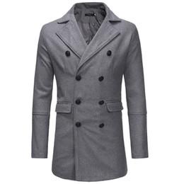2019 zwei männer graben 3 Farbe Mann-Herbst-Winter-warme Jacke Langarm Overcoat Outwear dünne lange Trench Zwei Reihen von Knöpfen Mantel # LR3 günstig zwei männer graben
