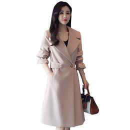весенние пальто для дам Скидка Классические пальто модные женские ветровки пальто 2019 весна осень одежда Новая корейская женская куртка с длинным рукавом тонкий плащ