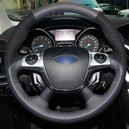 2019 ford focus couverture de direction Bricolage à coudre à la main noir véritable cuir noir daim fil bleu couvre volant pour voiture pour Ford Focus 3 2012-2014 KUGA 2013-2016 ford focus couverture de direction pas cher