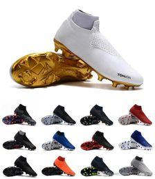 botas de futebol cr7 preto branco Desconto New Arrivaled 2019 Branco preto Atacado Chuteiras de Futebol Ronaldo CR7 Originais Sapatos de Futebol Fantasma VSN Elite DF FG Botas De Futebol tamanho 40-45