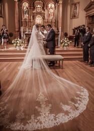 octa core 2019 Nuevo 4 metros Una capa de encaje Tulle Long Wedding Veil New White Ivory 4 M Bridal Veil with Comb Velos De Novia a medida desde fabricantes