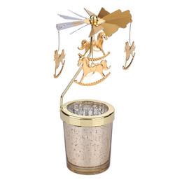Bougies mignonnes en Ligne-Moulin à vent chandelier décoration de la maison mignonne chandelier romantique bougeoirs en métal suspendu or table maîtresse décorations de mariage