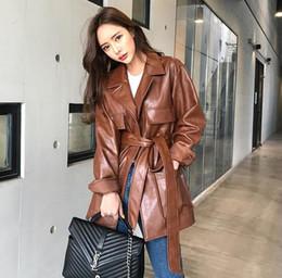 Ceinture en cuir marron en Ligne-Femmes revers col court tranchée manteau en cuir PU veste longue ceinture style coréen Blazer Outwear pardessus noir brun
