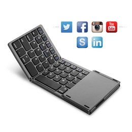2019 bluetooth gratis para windows Compatible Bluetooth Plegado Mini Teclado Plegable BT Teclado táctil inalámbrico Teclado para IOS / Android / Windows iPad Envío gratis bluetooth gratis para windows baratos