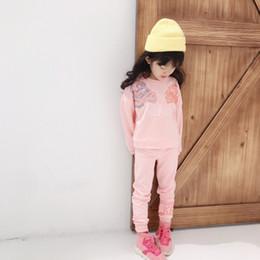 Женские спортивные костюмы леопарда онлайн-новый фондовый малыш малыш девочка весна осень одежда наборы розовый с длинным рукавом Леопард топы длинные брюки наряд спортивный костюм