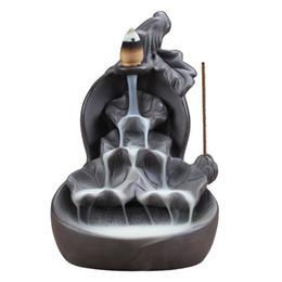 Palos de sándalo online-Lotus Cascada Quemador de incienso Sándalo Púrpura Arcilla Calabaza Stick Holder Línea de reflujo de humo Quemador de incienso Decoración para el hogar