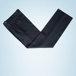 La tunica nera si adatta agli uomini online-Abito uomo tunica cinese pantaloni nero elegante abito Zhonshan pantaloni uomo regolabile vita pantaloni dritti classico costume Homme