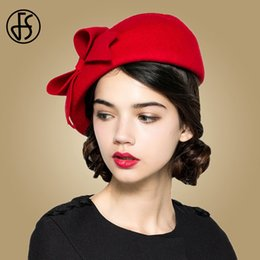 Красные войлочные шляпы онлайн-FS Elegant 100% Wool Felt Fedora White Black Ladies Red Hats Wedding Fascinators Women Bowknot Berets Caps Pillbox Hat Chapeau