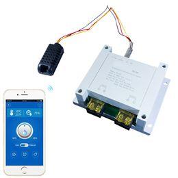 controlador de temperatura inteligente Rebajas 2 vías 30Amp Gran Corriente Control WiFi Interruptor inteligente Temperatura Humedad Medición Monitor Kit Kit