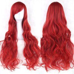 mehrfarbige haare gefärbt Rabatt Cosplay Perücke langes lockiges Haar Hochtemperatur Seide Multicolor lockiges Haar Anime Perücke 80cm Fashion Top jooyoo