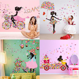 Diy linda menina casa decoração adesivo de parede flor fada adesivos de parede decalques personalidade borboleta dos desenhos animados mural da parede para o quarto do miúdo de Fornecedores de caixa do portátil