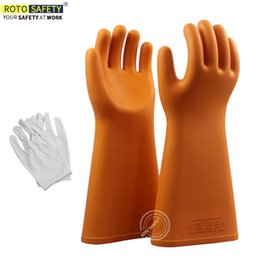 Deutschland 1Pair High Voltage Gummi 35KV Arbeitsschutz Sicherheit Isolierung Elektro-Handschuhe Versorgung