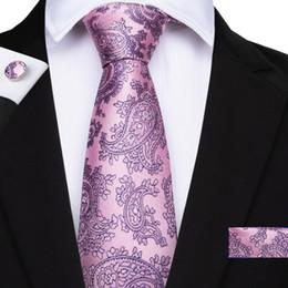 d63b3246a1ec floral pink mens necktie NZ - Hi-Tie Pink Tie Floral Flower Mens Tie  Hankerchief
