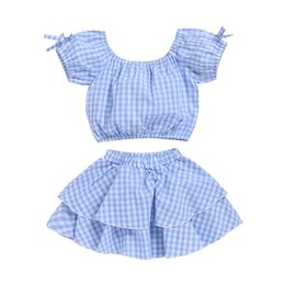 girls plaid skirt outfits Coupons - Baby girls Plaid outfits children lattice print top+skirts 2pcs set 2019 summer fashion Boutique kids Clothing Sets C5979