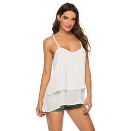cima di serbatoio in cotone Sconti Summer Women V Neck Gilet New Sexy Hollow Outrwear Tank Tank Crop Top Cotton Blend Vestiti Casual Top sciolti Backless