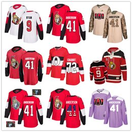 Ottawa senador jérsei on-line-Personalizados Ottawa Senators Jersey 41 Craig Andersen 44 Jean-Gabriel Pageau 9 camisola do hóquei Bobby Ryan 72 Thomas Chabot da bandeira dos EUA