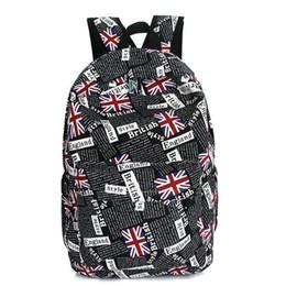 Stampa della bandiera dello zaino online-Pop British Famous Brand Women Canvas Zaino Bandiera stampa borsa da viaggio Daypack Ragazzi ragazze adolescenti Unisex School Bag