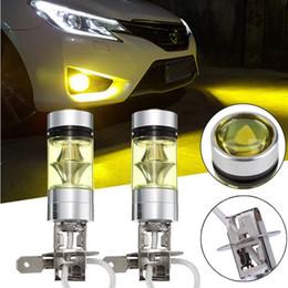 желтый h11 противотуманные фары Скидка 2PCS Led Fog Lamp 4300k Yellow LED H3 100W High Power 100W 2828 Car Fog Light Bulb DRL 2000LM High-brightness Lamp Wholesale