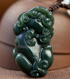 collier pixiu Promotion Belle Naturel Vert HeTian Jade Sculpté Chinois Mignon PiXiu Amulet Chanceux Pendentif + Collier Gratuit Certificat Fine Jewelry