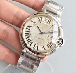 Relógio de pulso on-line-Relógio dos homens CAR BALLON W69012Z4 Série Branco 42 MM Calendário Mostrador Automático Mecânico de Aço Inoxidável Fivela de Safira Masculino Relógio de Pulso