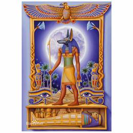 Pintura egípcia on-line-Pintura Ponto Cruz Anubis Egipto Bordado Ponto Cruz Strass Mosaico Completa circular Diamante 5D DIY Diamante Pintura Home Decor Gif ...