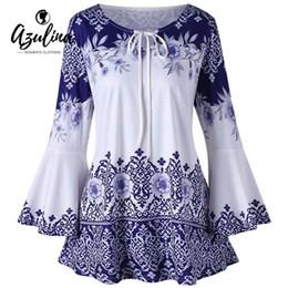 ad83dcc611b AZULINA Plus Size Print Keyhole T-Shirt Women T Shirt Casual Flare Sleeve  Keyhole Neck T-shirts Ladies Tops Big Size Tshirt 5XL Y18122401