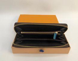 Commercio all'ingrosso 6 colori moda singola cerniera designer uomo donna portafoglio in pelle signora signore borsa lunga con scatola arancione carta 60017 cheap wallets da portafogli fornitori