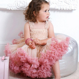 princess cake tutu Promo Codes - Baby birthday party dresses lace girls lace tulle tutu princess dress Angal baby gauze tiere cake dress kids photo shoot dress A01556