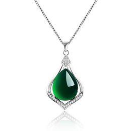 Echte 925 Sterling Silber Natürliche Jade Link Ketten Anhänger Halsketten für Frauen Sterling-Silber-Schmuck Marke Anhänger wassertropfen von Fabrikanten