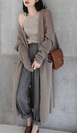 Cardigan trenzado grueso online-2019 Otoño nuevo fuera del giro en la larga sección suelta versión coreana del grueso abrigo de suéter de lana cardigan mujeres