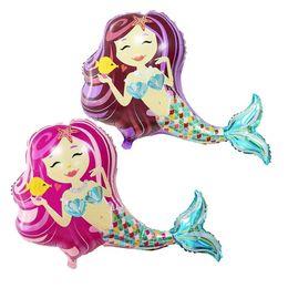 Palloncini di nozze viola online-95 * 80cm Mermaid Princess Purple Pink Foil Balloons Happy Birthday Decorazioni di nozze Palloncini Baby shower Attività di mercato Rifornimenti del partito