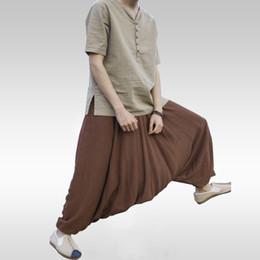 2019 pantalon punk épais Hommes Joggers Coton Indien Sarouel Hommes Grand Crotch Pants Népal Baggy Lin Hip Hop Couleur Pure Grand Bloomers Punk promotion pantalon punk épais