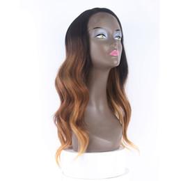 perruques de dentelle grise Promotion Ombre Gris Naturel Vague Perruques De Cheveux Noir 1B # 2 # 99J Haute Qualité Résistant À La Chaleur Synthétique Droit Droite Perruques En Dentelle