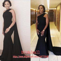 Longo vestido preto fita on-line-Middle East 2020 um ombro cetim preto Sereia Vestidos de noite com fita Yousef aljasmi Formal vestidos de festa Sexy Longo Prom Dresses baratos